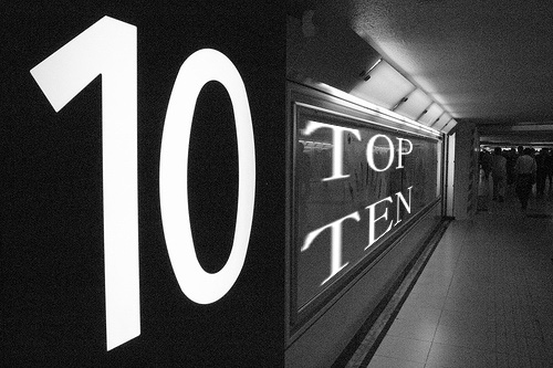 I enjoy doing Top 10 Lists!