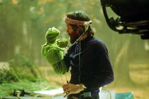 "The late great Jim Henson with Kermit on the set of ""The Muppet Show"""