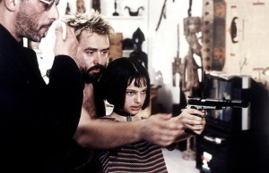 "Luc Beeson with Natalie Portman and Jean Reno on the set of ""Leon: The Professional"""