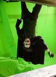 "Heath Ledger hanging tight on the set of ""The Dark Knight"""