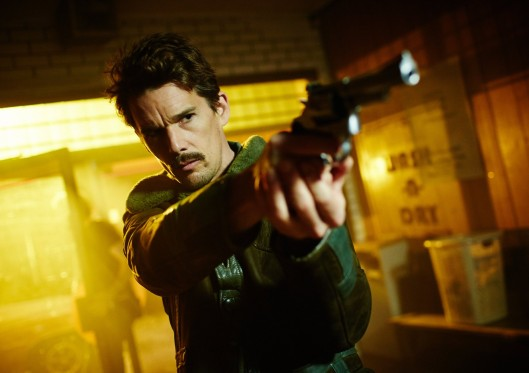 "Ethan Hawke as ""the Bartender"" in ""Predestination"""