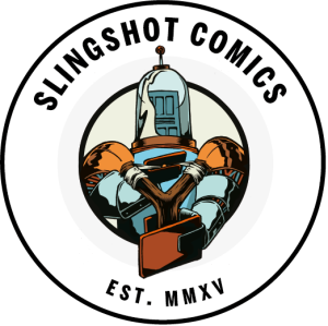 The Slingshot Comics Logo. Dig it and worship it!
